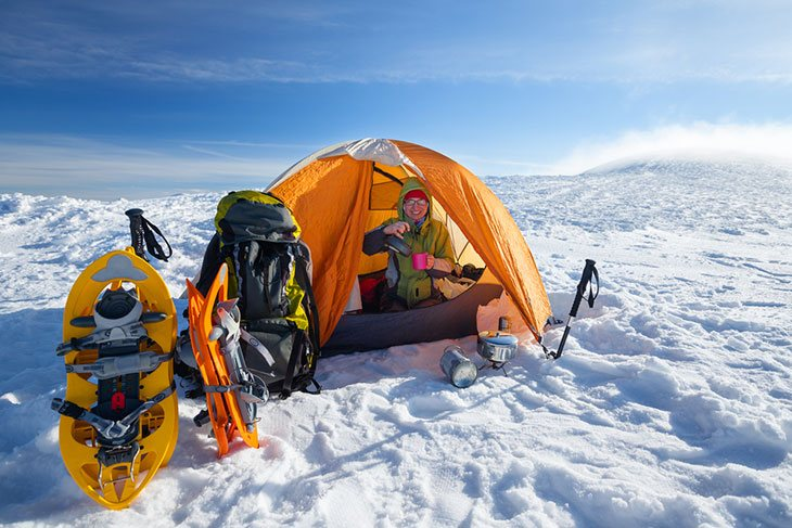 camping in the snow tips